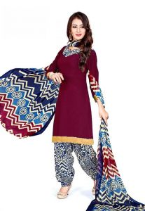 Elegant Crepe Designer Printed Unstitched Dress Material With Chiffon Dupatta (code-gp13008)