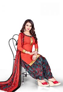 Elegant Crepe Designer Printed Unstitched Dress Material With Chiffon Dupatta (code-gp13009)