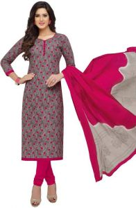 Elegant Cotton Designer Printed Unstitched Dress Material With Cotton Dupatta (code-nd1608)