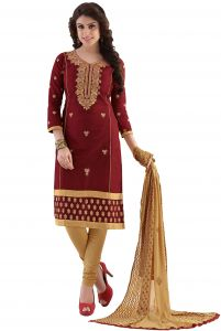 Radiant Cotton Embroidered Salwar Suit Dress Material With Chiffon Dupatta (code- Nkt1217)