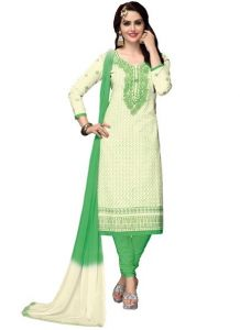 Radiant Cotton Embroidered Salwar Suit Dress Material With Chiffon Dupatta (code-nkt1222)