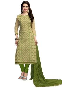 Radiant Cotton Embroidered Salwar Suit Dress Material With Chiffon Dupatta (code-nkt1223)