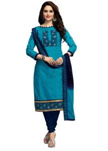 Radiant Cotton Embroidered Salwar Suit Dress Material With Chiffon Dupatta (code-nkt1224)
