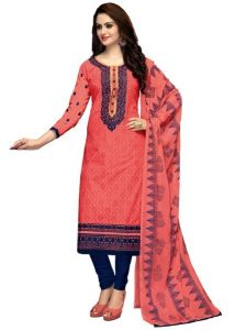 Radiant Cotton Embroidered Salwar Suit Dress Material With Chiffon Dupatta (code-nkt1225)
