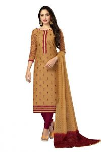 Radiant Cotton Embroidered Salwar Suit Dress Material With Chiffon Dupatta (code-nkt1233)