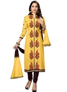 Radiant Cotton Embroidered Salwar Suit Dress Material With Chiffon Dupatta (code-nkt1235)