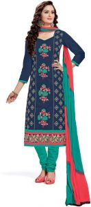 Radiant Cotton Embroidered Salwar Suit Dress Material With Chiffon Dupatta (code-nsf4002)