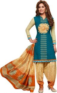 Elegant Cotton Patiyala Unstitched Dress Material Salwar Suit (code-p1217)