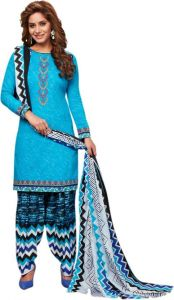 Elegant Cotton Patiyala Unstitched Dress Material Salwar Suit (code-p1219)