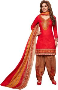 Elegant Cotton Patiyala Unstitched Dress Material Salwar Suit (code-p1221)