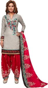 Elegant Cotton Patiyala Unstitched Dress Material Salwar Suit (code-p1222)