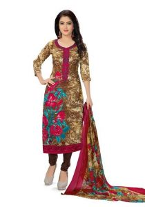 Elegant Crepe Designer Printed Unstitched Dress Material Suit (code - Re4774)