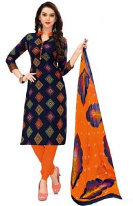 Elegant Crepe Designer Printed Unstitched Dress Material With Chiffon Dupatta (code-re4951)