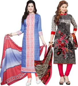 Elegant Cotton Designer Printed Pack Of Two Unstitched Dress Material (code- Combo1)