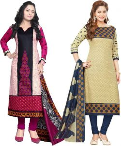 7a1162badd Elegant Cotton Designer Printed Pack Of Two Unstitched Dress Material  (code- Sanacombo14)