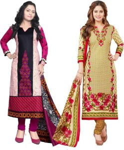 Elegant Cotton Designer Printed Pack Of Two Unstitched Dress Material (code- Sanacombo49)