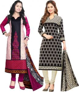 Elegant Cotton Designer Printed Pack Of Two Unstitched Dress Material (code- Sanacombo50)