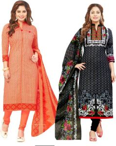 Elegant Cotton Designer Printed Pack Of Two Unstitched Dress Material (code- Sanacombo53)