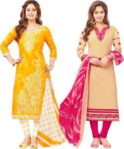 10bede5dee Elegant Cotton Designer Printed Pack Of Two Unstitched Dress Material  (code- Sanacombo54)