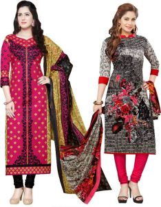 Elegant Cotton Designer Printed Pack Of Two Unstitched Dress Material (code- Sanacombo55)