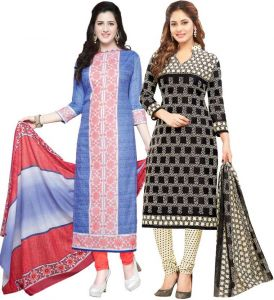 Elegant Cotton Designer Printed Pack Of Two Unstitched Dress Material (code- Sanacombo56)