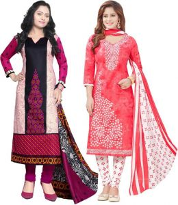 Elegant Cotton Designer Printed Pack Of Two Unstitched Dress Material (code- Sanacombo57)