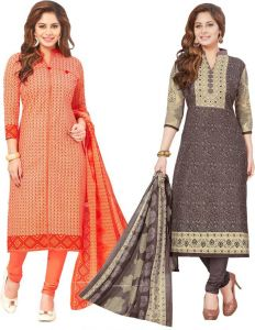 Elegant Cotton Designer Printed Pack Of Two Unstitched Dress Material (code- Sanacombo58)