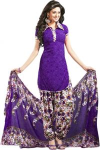 Purple Printed Crepe Unstitched Salwar With Chiffon Dupatta (code-vm1162)