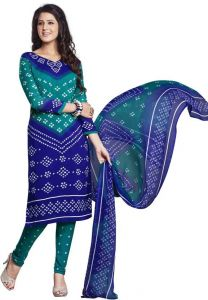 Multicolor Printed Crepe Unstitched Salwar With Chiffon Dupatta (code-vm1256)