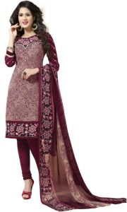 Elegant Crepe Designer Printed Unstitched Dress Material With Chiffon Dupatta (Code-VM1582)
