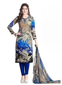 Multicolor Printed Crepe Unstitched Salwar With Chiffon Dupatta (code-vm1774)