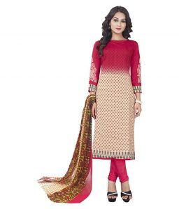 Multicolor Printed Crepe Unstitched Salwar With Chiffon Dupatta (code-vm1963)