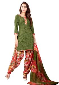 Elegant Crepe Designer Printed Unstitched Dress Material With Chiffon Dupatta (Code-VM1972)