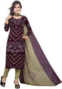 Multicolor Printed Crepe Unstitched Salwar With Chiffon Dupatta (code-vm2071)