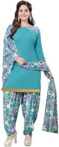Blue Printed Crepe Unstitched Salwar With Chiffon Dupatta (code-vm2159)