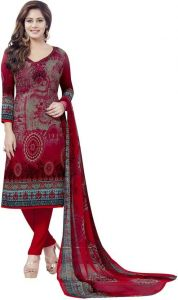 Multicolor Printed Crepe Unstitched Salwar With Chiffon Dupatta (code-vm2160)