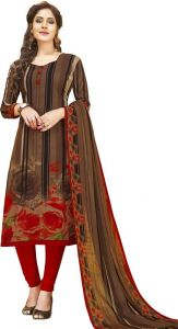 Dress Materials (Singles) - Elegant Crepe Designer Printed Unstitched Dress Material With Chiffon Dupatta (Code-VM2480)