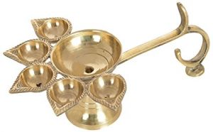 Hand Made Brass Panch Aarti Diya/puja Diya