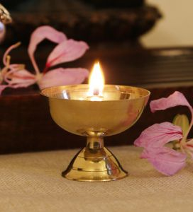 Gold Brass Akhand Jyoti Diya Height 10.5 Cm