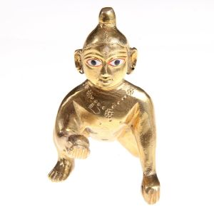 Attractive Lord Laddu Gopal / Ball Krishna / Thakur Ji Brass Statue 5 Inch