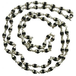 Black Tulsi Wooden Mala Silver Coated Black Tulsi Necklace