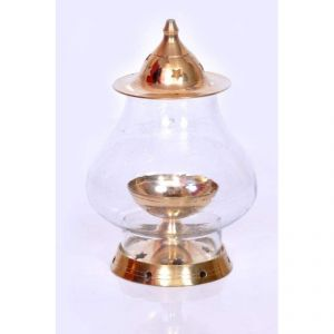 Brass Akhand Diya Clear Glass Deep Dia 5.52 Inch