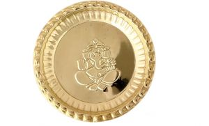 Brass Pooja Plate / Golden Puja Thali With Ganesh Symbol