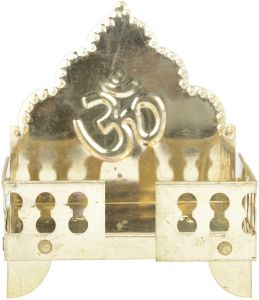 Brass Singhasan Home Temple Gold 11.5 Cm