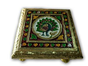 Meenakari Work Chowki For God / Designer Mor Design Chowki For God
