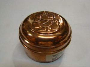Copper Box With Ganpati Symbol On Top / Pure Copper Pooja Box