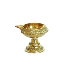 Designer Brass Diya / Pooja Deepak / Brass Kuber Diya With Stand