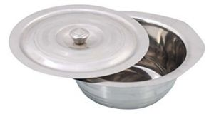 Pawan Stainless Steel Donga / Donga With Knob Lid / Steel Serving Dish