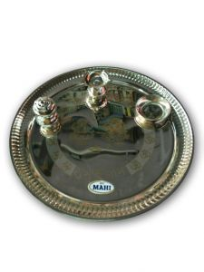 Stainless Steel Pooja Thali Set / Golden Laser Crafted Aarti Thali