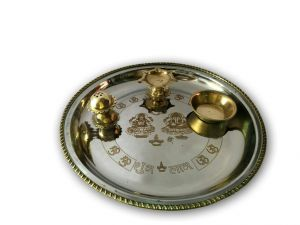 Brass And Steel Lazer Crafted Pooja Thali/ Small 2 Tone Laxmi Ji Ganesh Ji Pooja Thali
